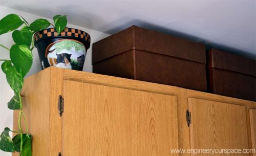 Short on storage space go vertical smart diy solutions for renters - Above kitchen cabinet storage ...