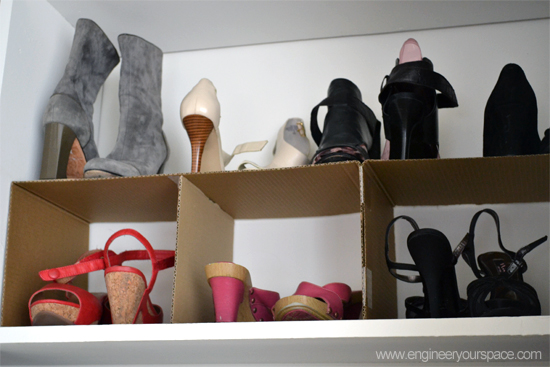 how to make a cardboard shoe organizer