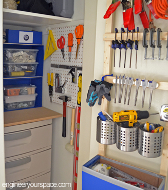 How to organize a small closet for tool storage