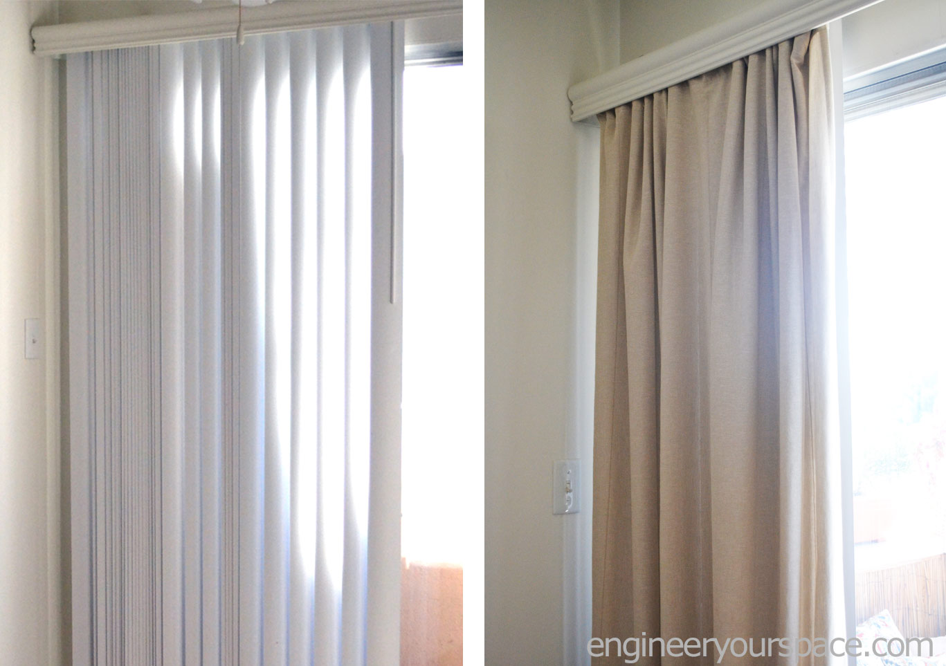 How to conceal vertical blinds with curtains smart diy Curtains venetian blinds