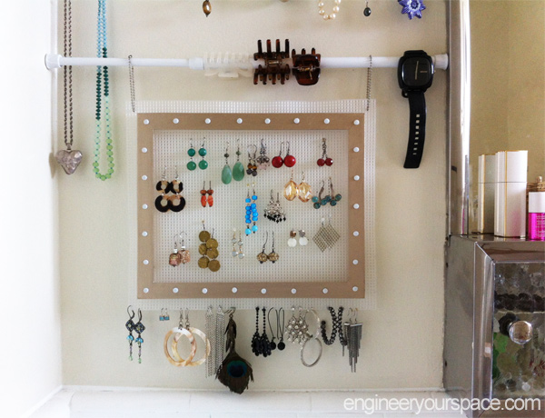 Small bathroom jewelry storage with tension rods | Smart DIY ... on bathroom decorating ideas, small bathroom budget ideas, small contemporary bathroom ideas, small bathroom ceiling ideas, small bathroom under sink storage, small bathroom kitchen, bathroom shelves over toilet ideas, small bathroom space saving ideas, small bathroom lighting, small black and white bathroom ideas, small bathroom arrangement ideas, small bathroom theme ideas, small bathroom creative ideas, small bathroom accent wall ideas, small fabric ideas, small bathroom curtain ideas, small bathroom remodeling ideas, small bathroom colors, small bathroom home decor, small bathroom art ideas,