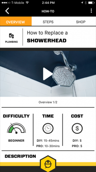 How to replace shower head project screenshot