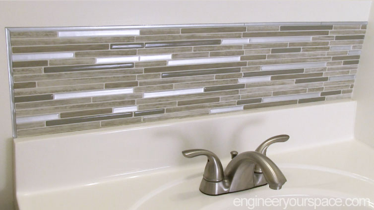 Smart Tile Finished backsplash. Small Bathroom Remodel  Easy DIY Tile Backsplash   Smart DIY