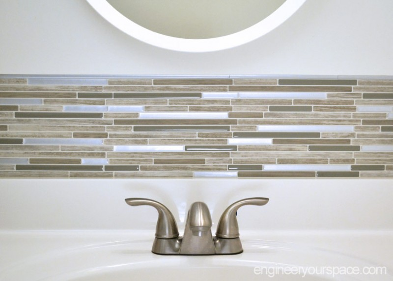 Smart Tiles bathroom backsplash by Engineer Your Space. Small Bathroom Remodel  Easy DIY Tile Backsplash   Smart DIY