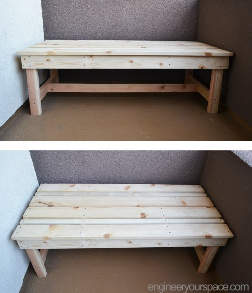 Finished-DIY-outdoor-bench-top-and-front-view-unstained