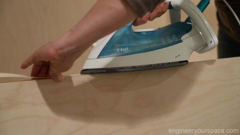 Ironing-on-veneer-edging-Murphy-bed