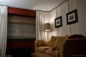 Studio apartment - after with IKEA kvartal room divider